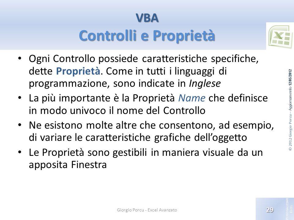 VBA Controlli e Proprietà