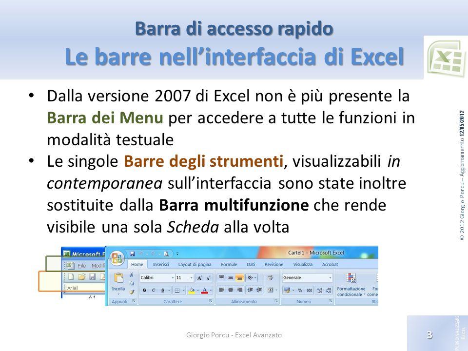 Barra di accesso rapido Le barre nell'interfaccia di Excel