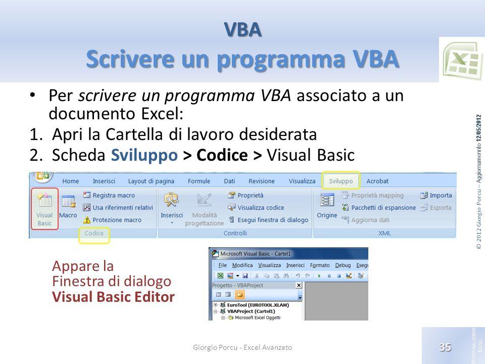 VBA Scrivere un programma VBA