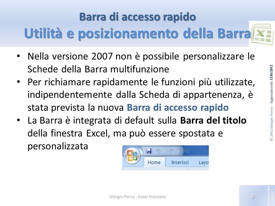Barra di accesso rapido Utilità e posizionamento della Barra