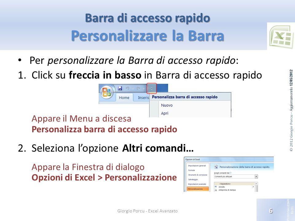 Barra di accesso rapido Personalizzare la Barra