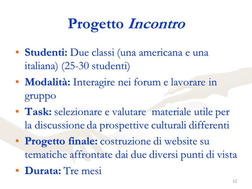 Progetto Incontro Studenti: Due classi (una americana e una italiana) (25-30 studenti) Modalità: Interagire nei forum e lavorare in gruppo.