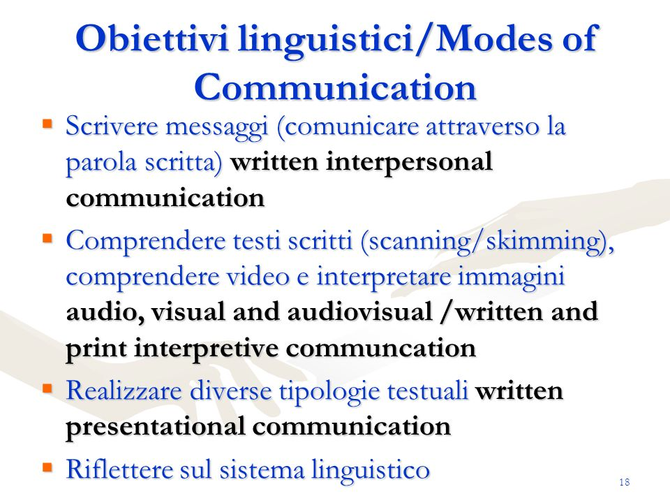 Obiettivi linguistici/Modes of Communication