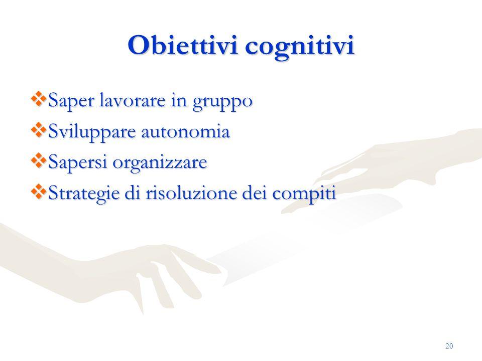 Obiettivi cognitivi Saper lavorare in gruppo Sviluppare autonomia