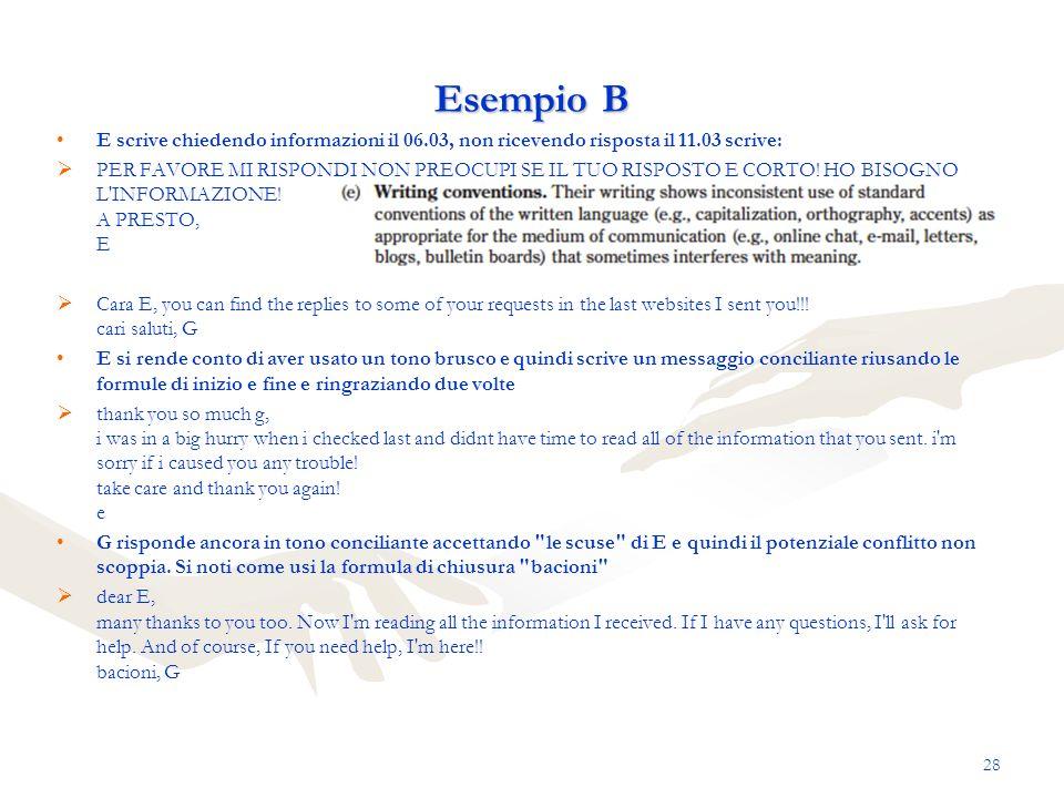 Esempio B E scrive chiedendo informazioni il 06.03, non ricevendo risposta il 11.03 scrive: