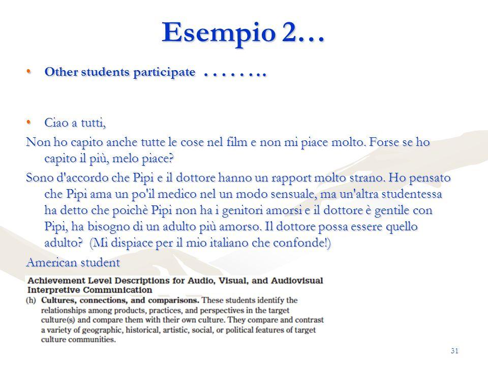 Esempio 2… Other students participate …….. Ciao a tutti,