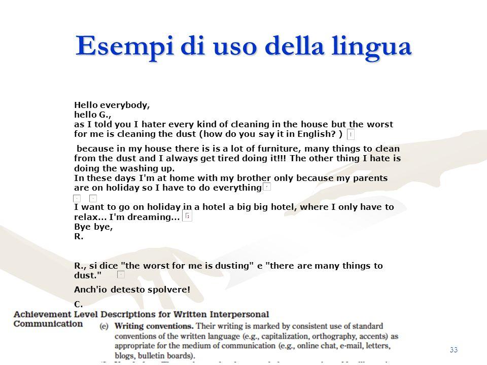 Esempi di uso della lingua