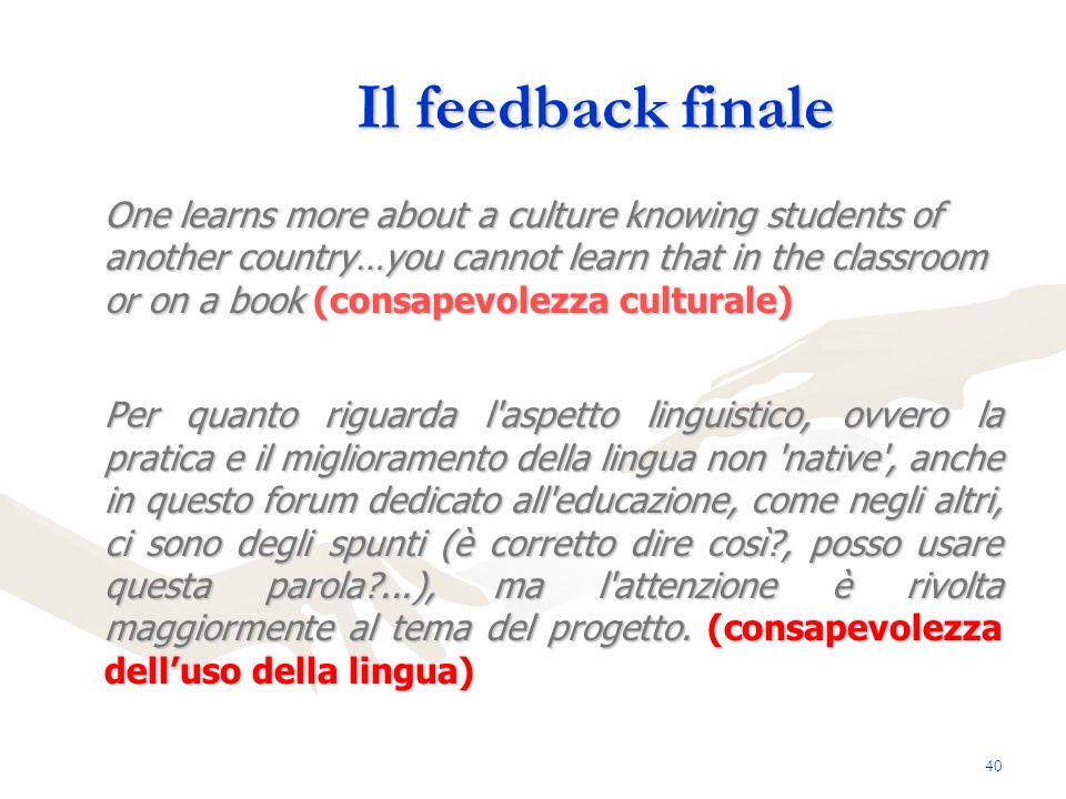 Il feedback finale