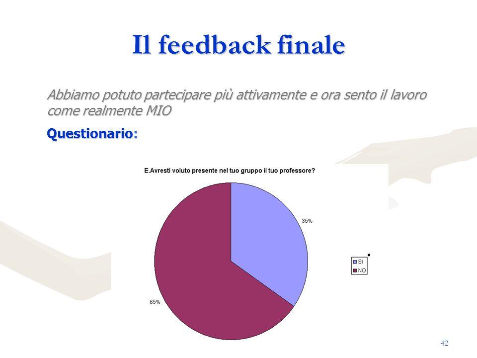 Il feedback finale Abbiamo potuto partecipare più attivamente e ora sento il lavoro come realmente MIO.