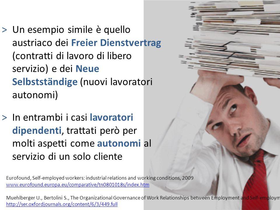 Un esempio simile è quello austriaco dei Freier Dienstvertrag (contratti di lavoro di libero servizio) e dei Neue Selbstständige (nuovi lavoratori autonomi)