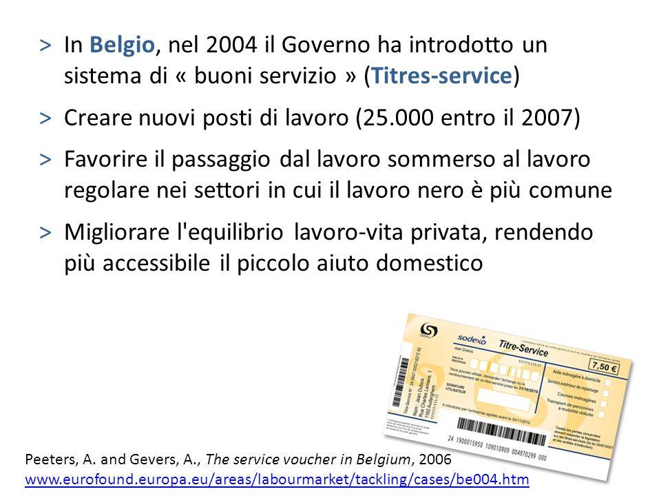 Creare nuovi posti di lavoro (25.000 entro il 2007)