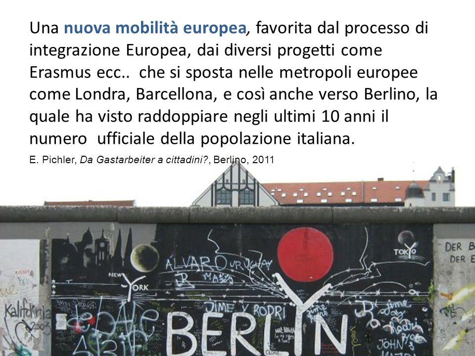 Una nuova mobilità europea, favorita dal processo di integrazione Europea, dai diversi progetti come Erasmus ecc.. che si sposta nelle metropoli europee come Londra, Barcellona, e così anche verso Berlino, la quale ha visto raddoppiare negli ultimi 10 anni il numero ufficiale della popolazione italiana.