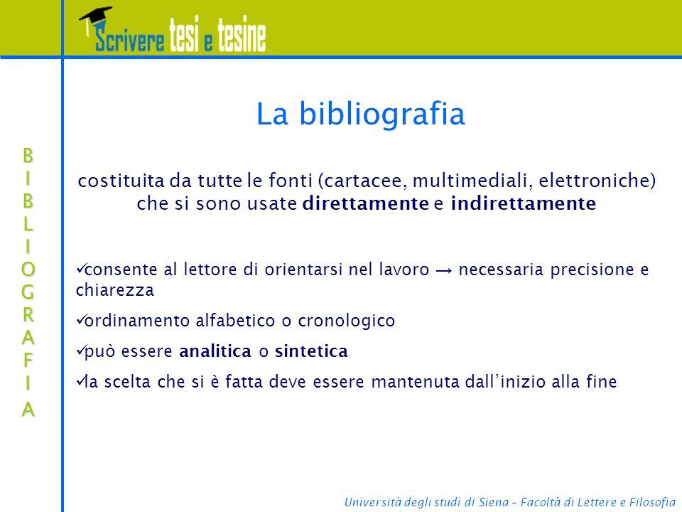 La bibliografia costituita da tutte le fonti (cartacee, multimediali, elettroniche) che si sono usate direttamente e indirettamente.