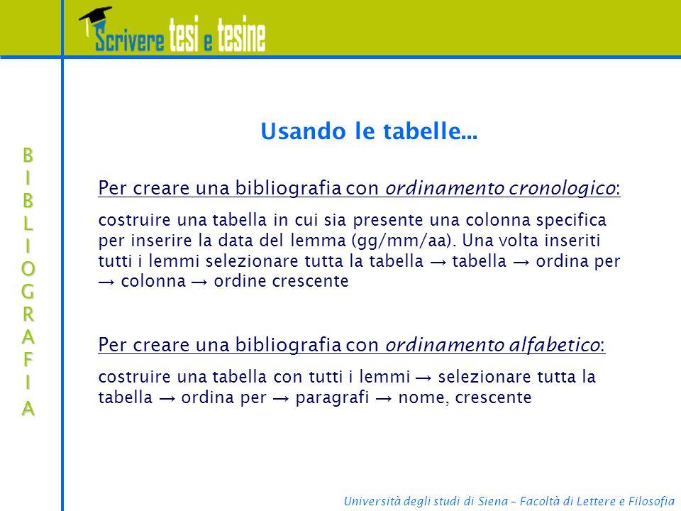 Usando le tabelle... Per creare una bibliografia con ordinamento cronologico: