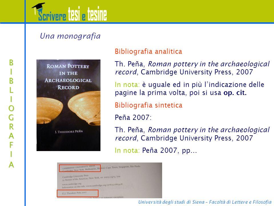 Una monografia BIBLIOGRAFIA Bibliografia analitica