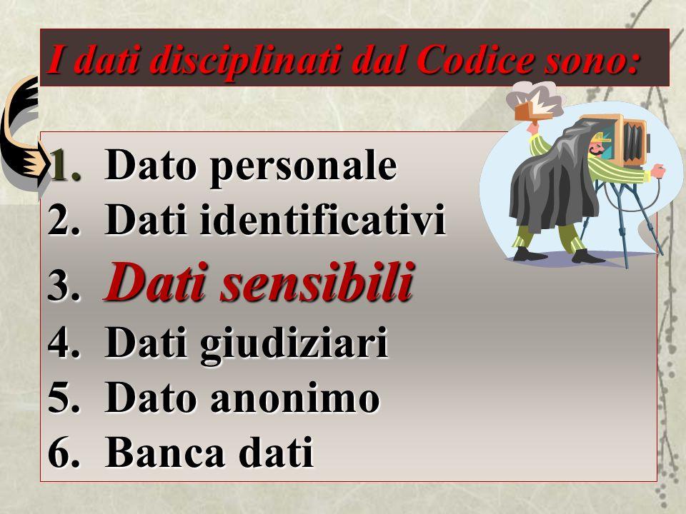 Dato personale Dati identificativi Dati sensibili Dati giudiziari