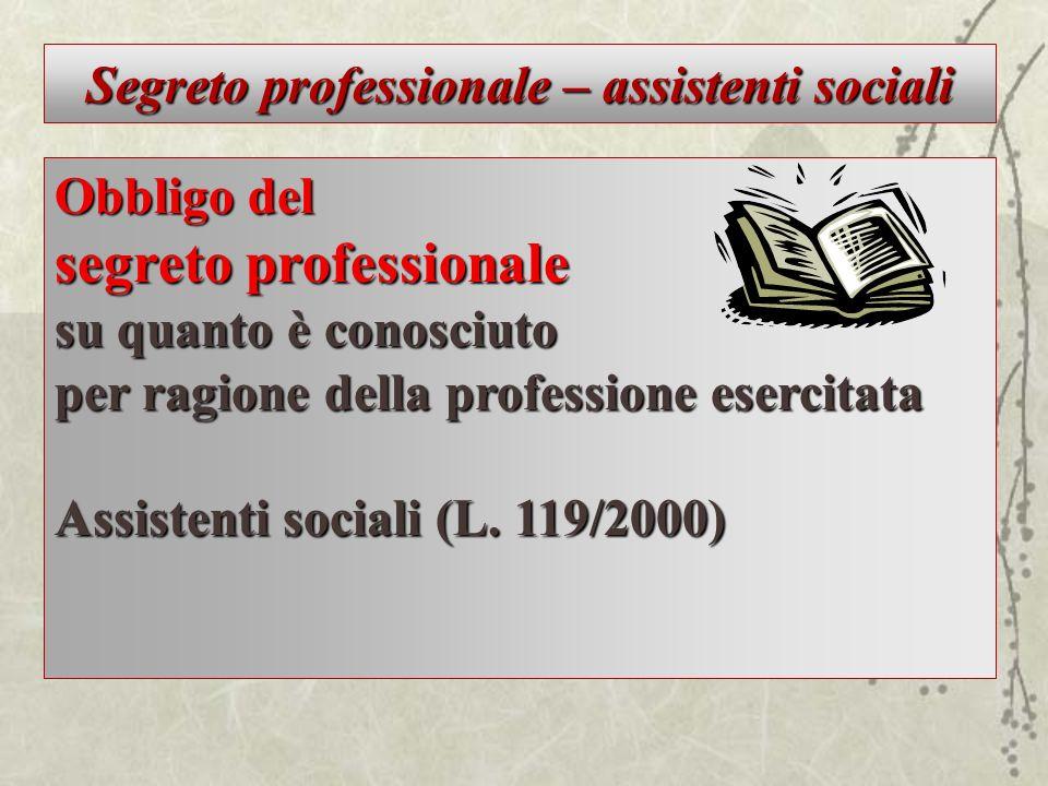 Segreto professionale – assistenti sociali