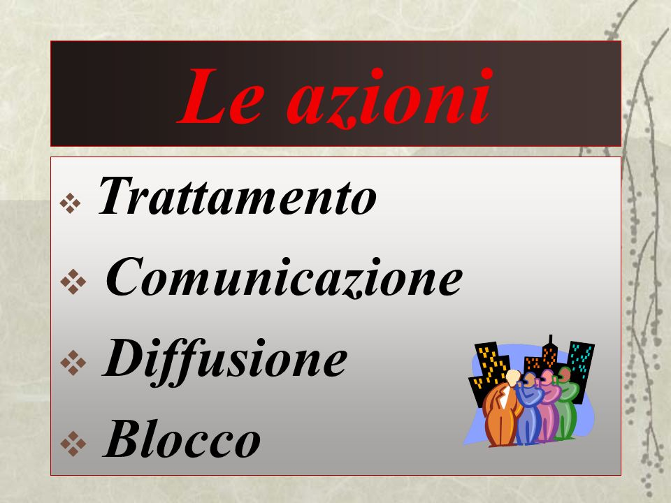 Le azioni Trattamento Comunicazione Diffusione Blocco 41