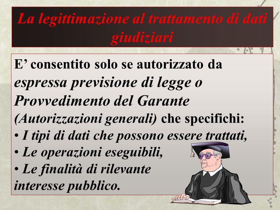La legittimazione al trattamento di dati giudiziari