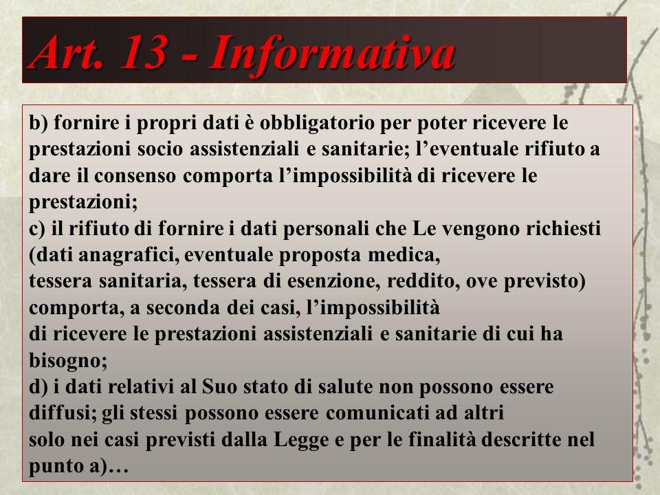 Art. 13 - Informativa