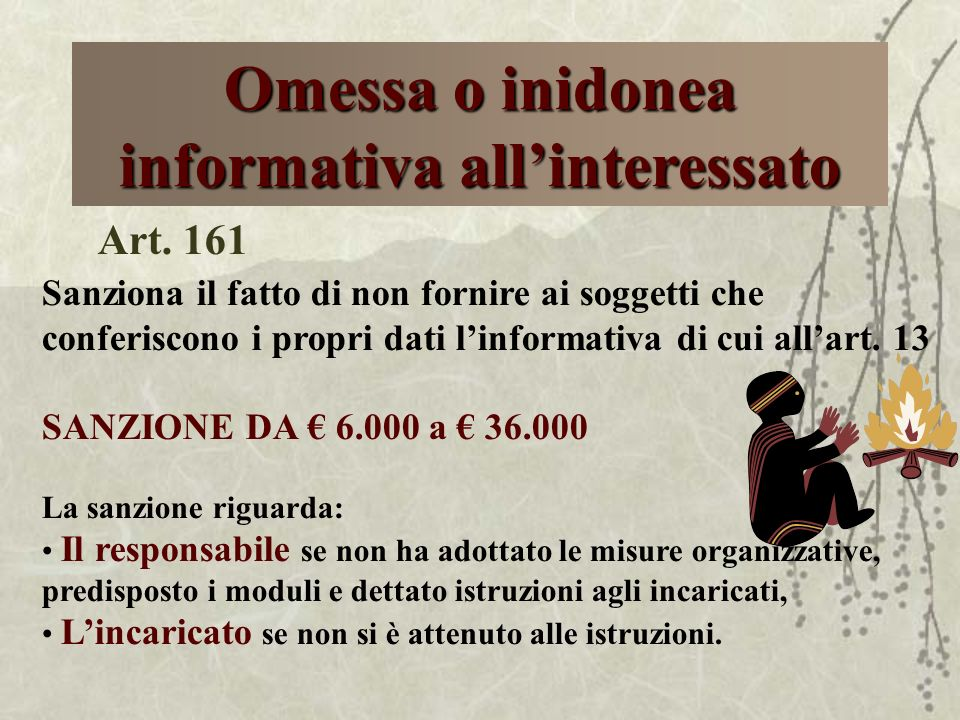 Omessa o inidonea informativa all'interessato