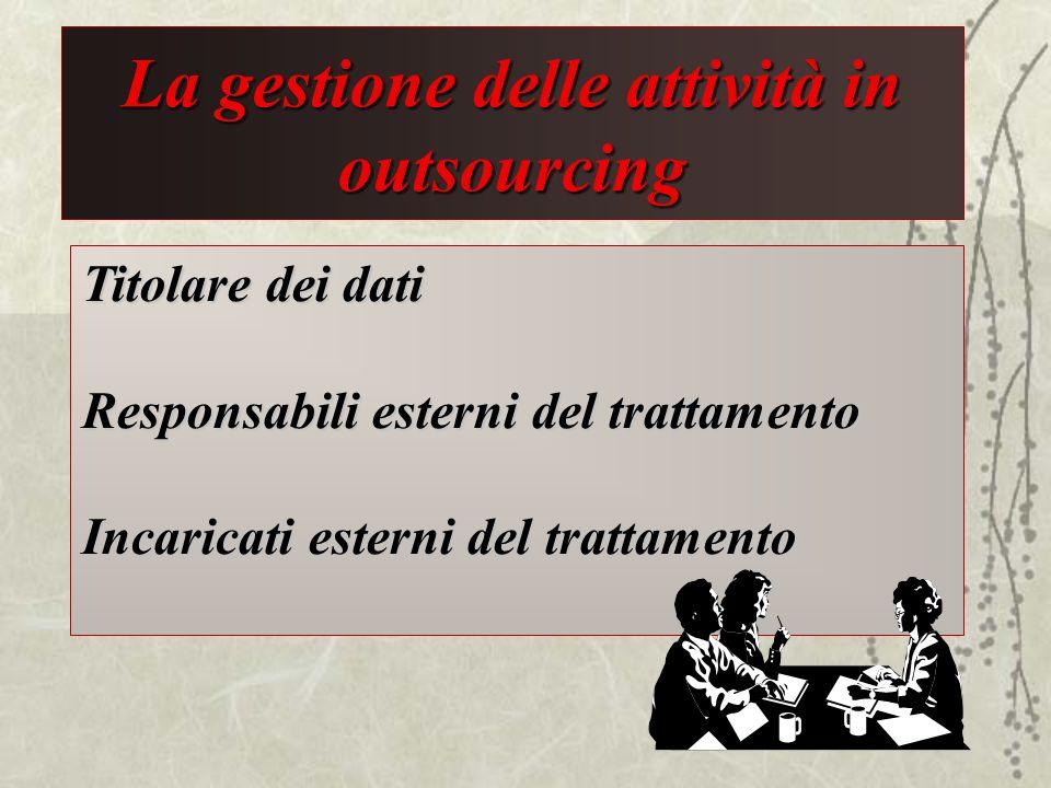 La gestione delle attività in outsourcing