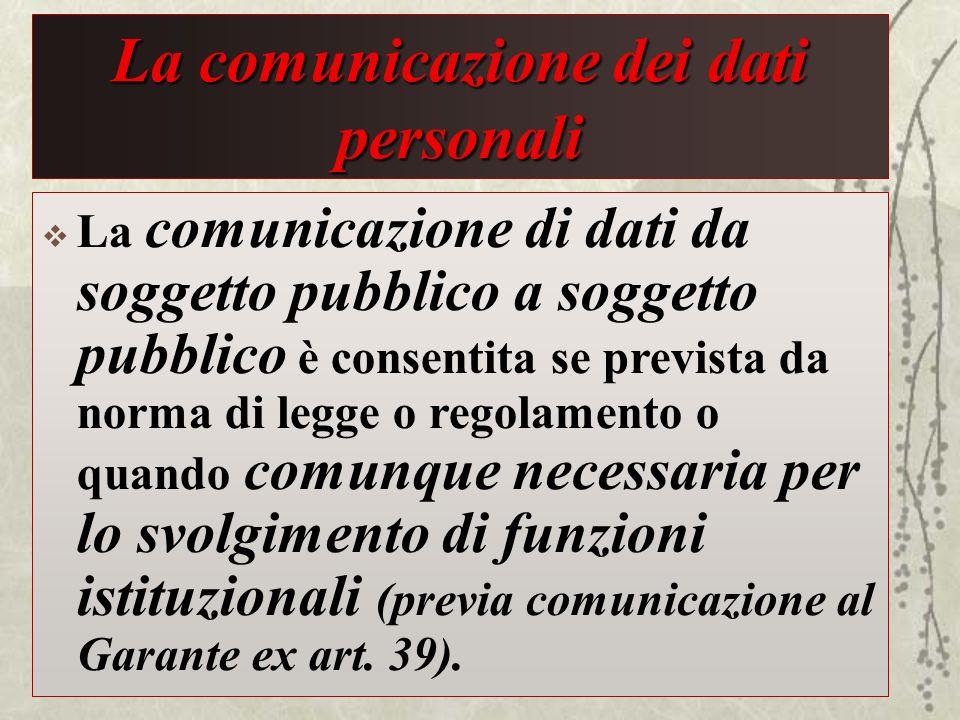 La comunicazione dei dati personali