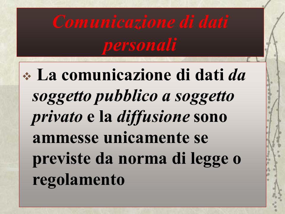 Comunicazione di dati personali