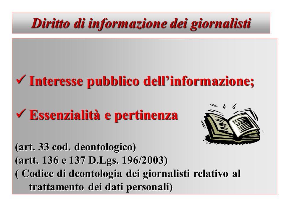 Diritto di informazione dei giornalisti