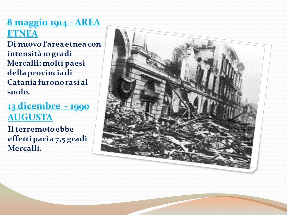 8 maggio 1914 - AREA ETNEA Di nuovo l'area etnea con intensità 10 gradi Mercalli; molti paesi della provincia di Catania furono rasi al suolo.