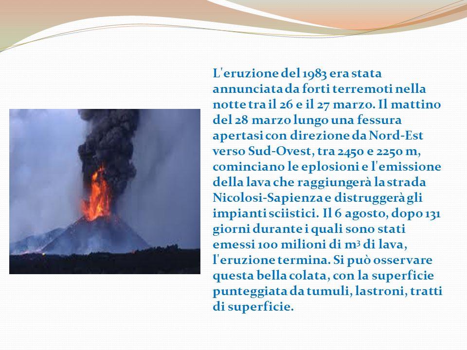 L eruzione del 1983 era stata annunciata da forti terremoti nella notte tra il 26 e il 27 marzo.