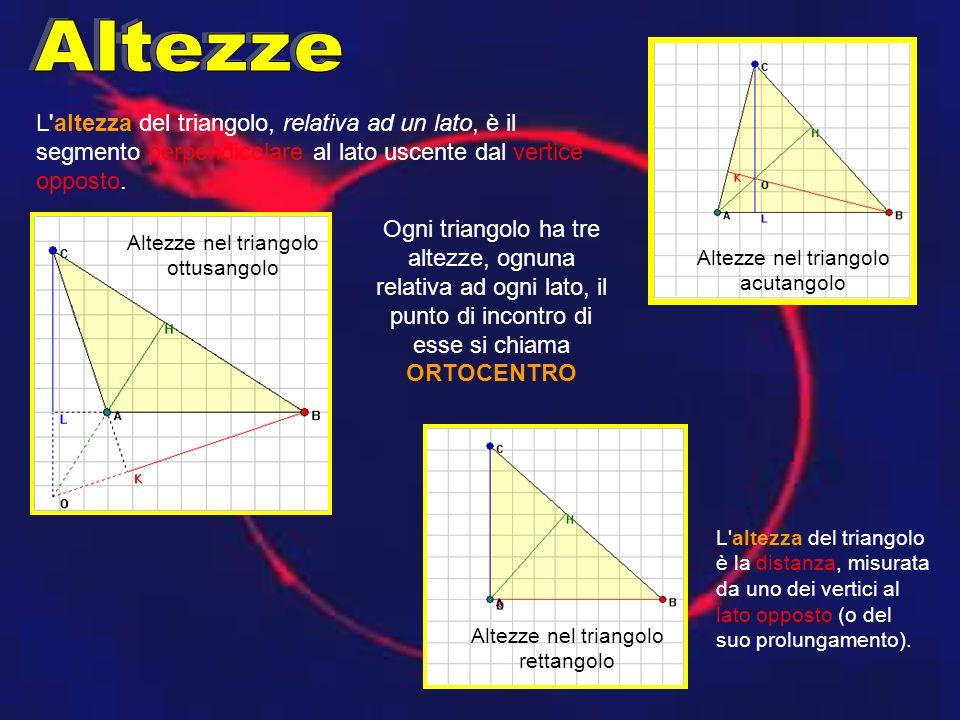 Altezze L altezza del triangolo, relativa ad un lato, è il segmento perpendicolare al lato uscente dal vertice opposto.