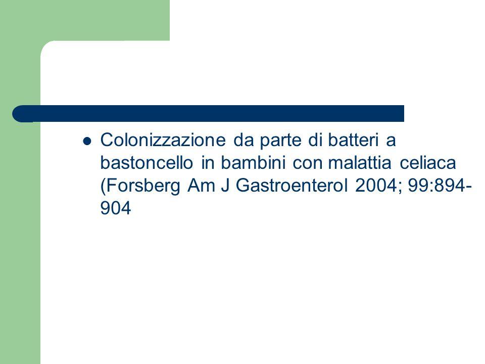 Colonizzazione da parte di batteri a bastoncello in bambini con malattia celiaca (Forsberg Am J Gastroenterol 2004; 99:894-904