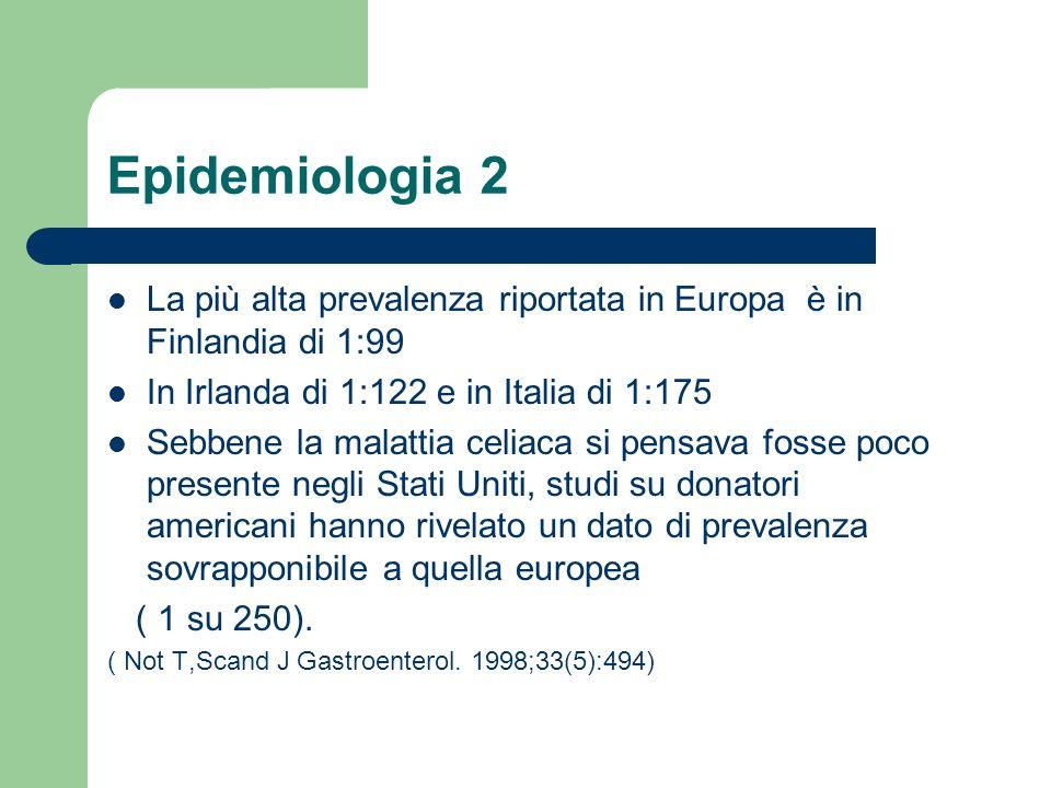 Epidemiologia 2 La più alta prevalenza riportata in Europa è in Finlandia di 1:99. In Irlanda di 1:122 e in Italia di 1:175.