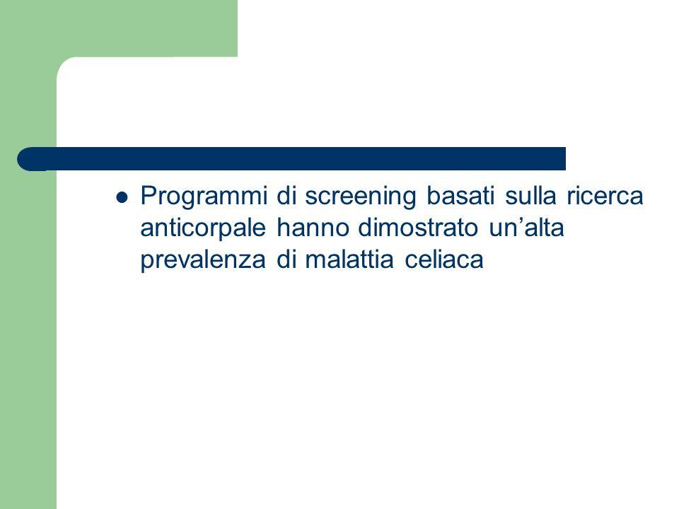 Programmi di screening basati sulla ricerca anticorpale hanno dimostrato un'alta prevalenza di malattia celiaca