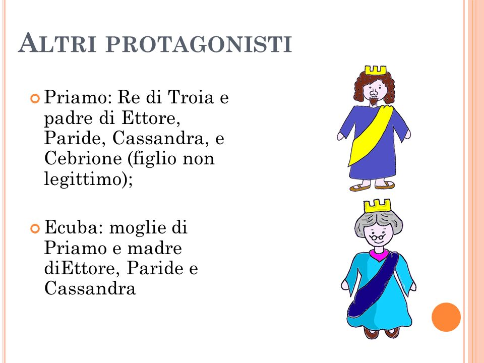 Altri protagonistiPriamo: Re di Troia e padre di Ettore, Paride, Cassandra, e Cebrione (figlio non legittimo);