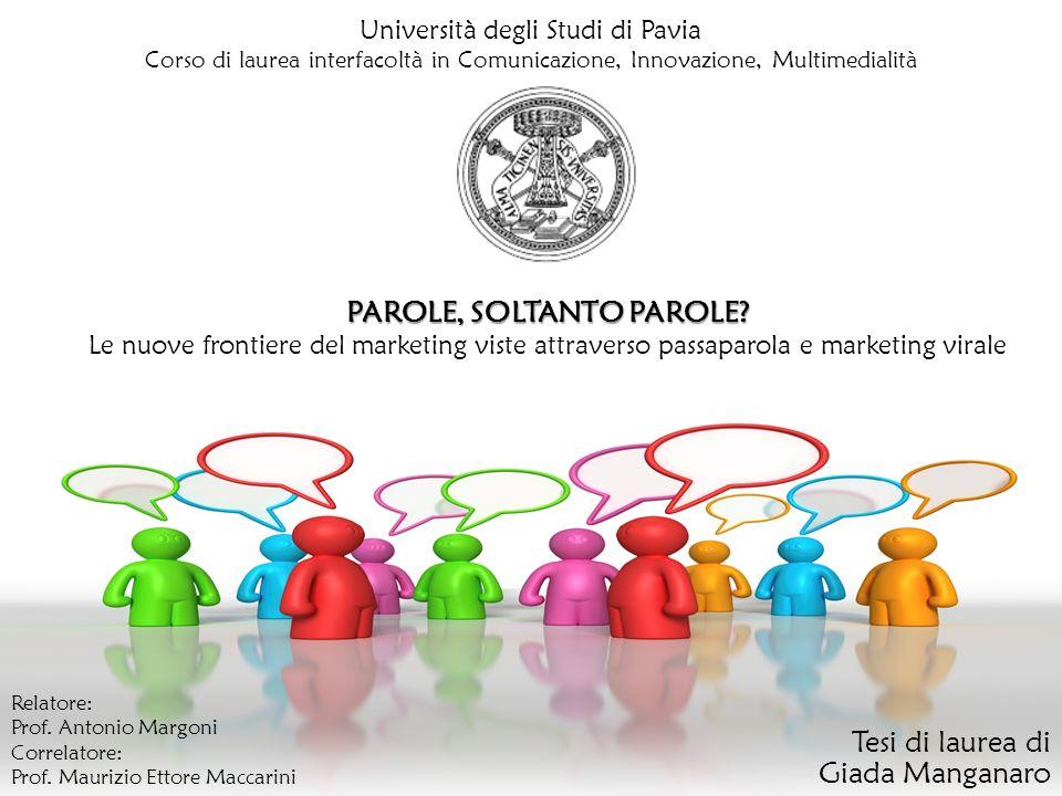 Università degli Studi di Pavia Corso di laurea interfacoltà in Comunicazione, Innovazione, Multimedialità