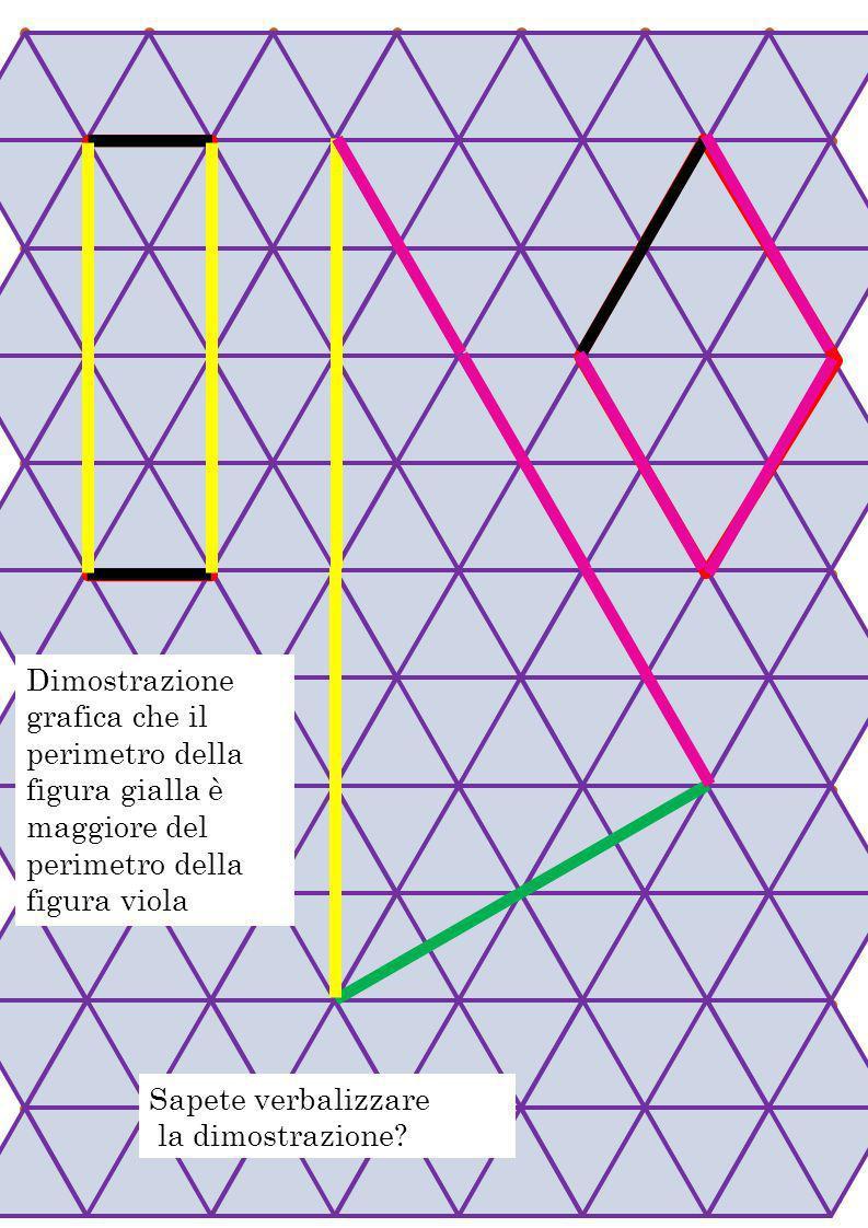 Griglie Unite Dimostrazione grafica che il perimetro della figura gialla è maggiore del perimetro della figura viola.