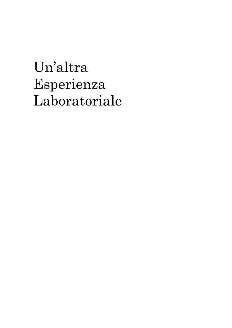Un'altra Esperienza Laboratoriale