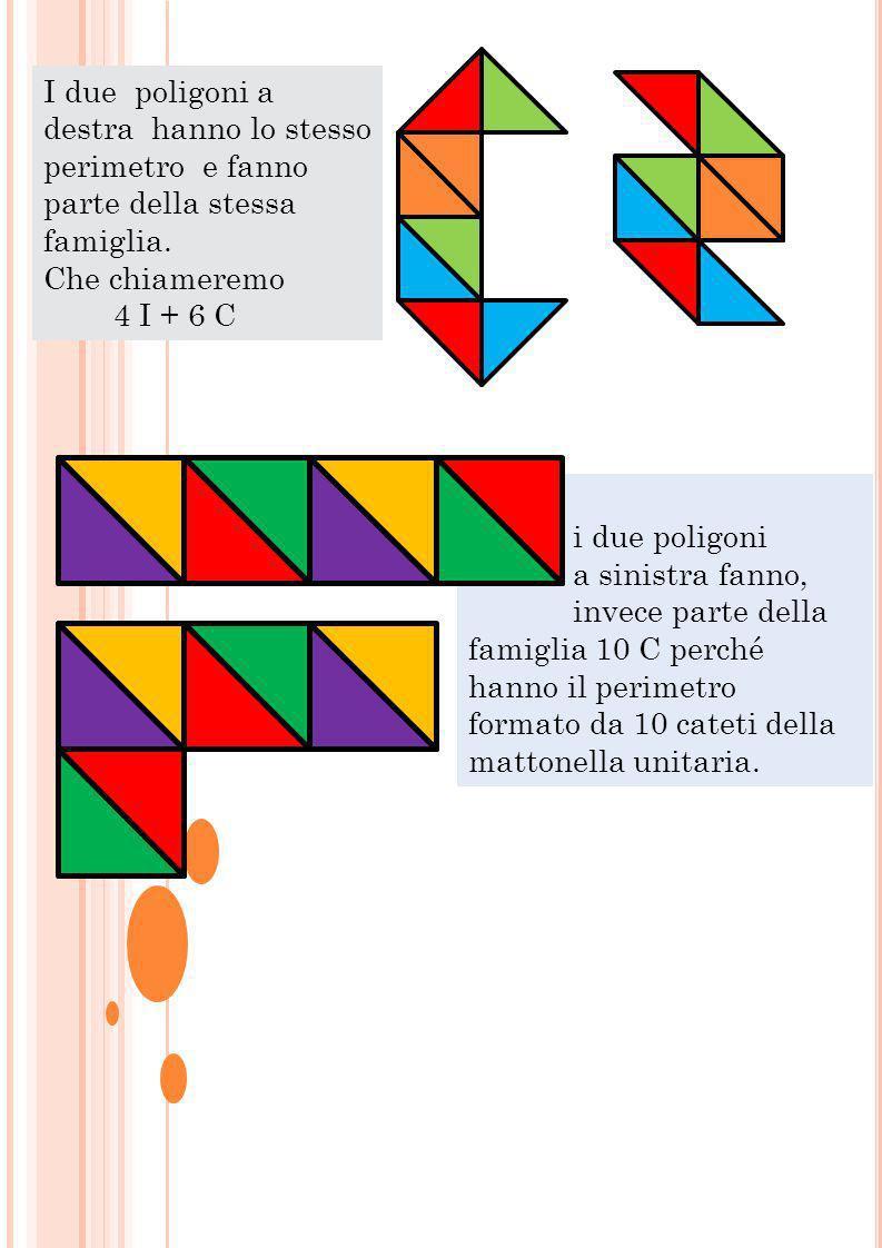 I due poligoni a destra hanno lo stesso perimetro e fanno parte della stessa famiglia.