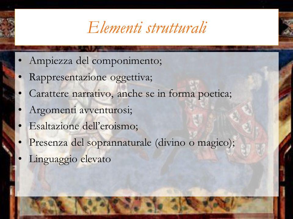 Elementi strutturali Ampiezza del componimento;