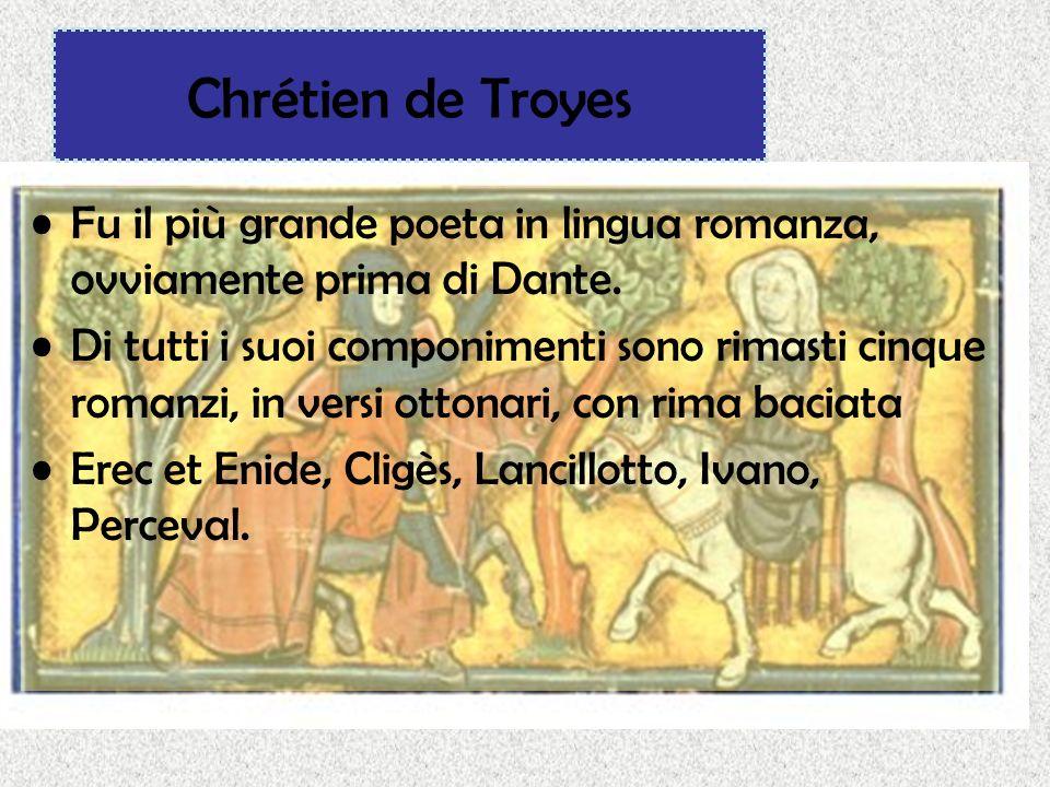 Chrétien de Troyes Fu il più grande poeta in lingua romanza, ovviamente prima di Dante.