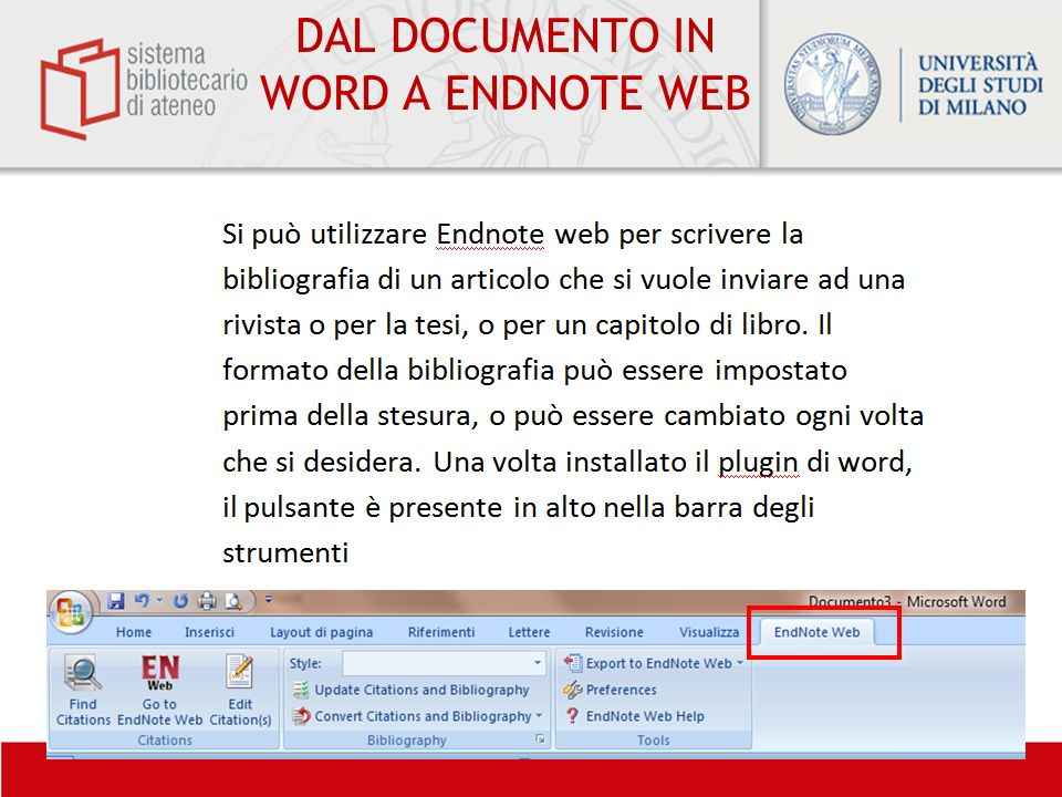 DAL DOCUMENTO IN WORD A ENDNOTE WEB