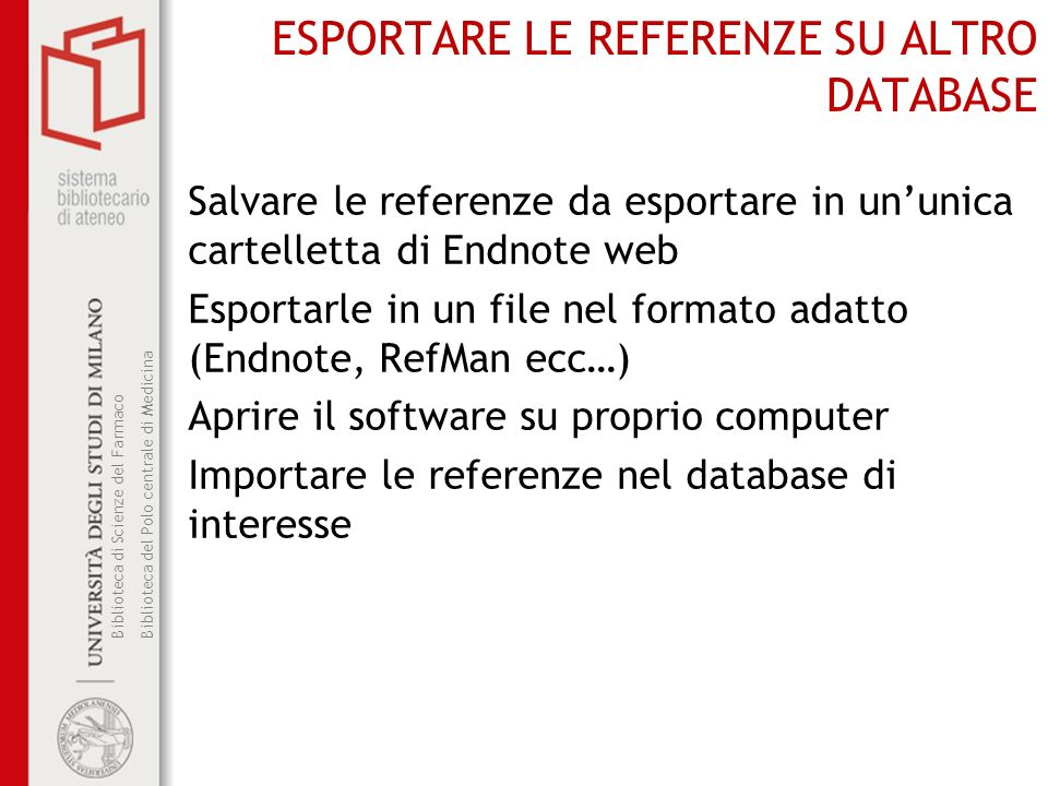 ESPORTARE LE REFERENZE SU ALTRO DATABASE