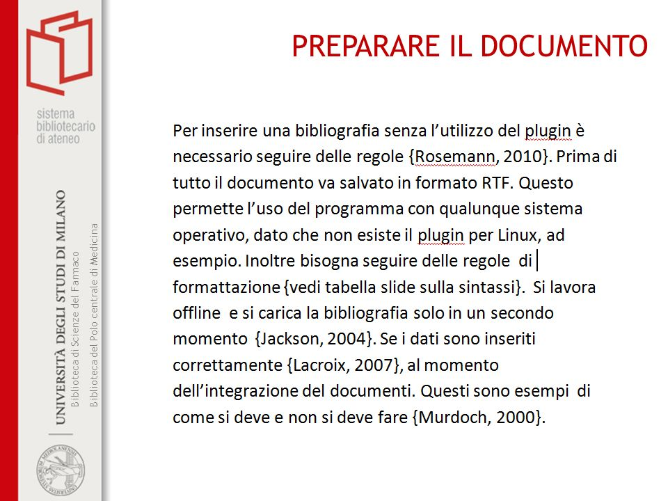 PREPARARE IL DOCUMENTO