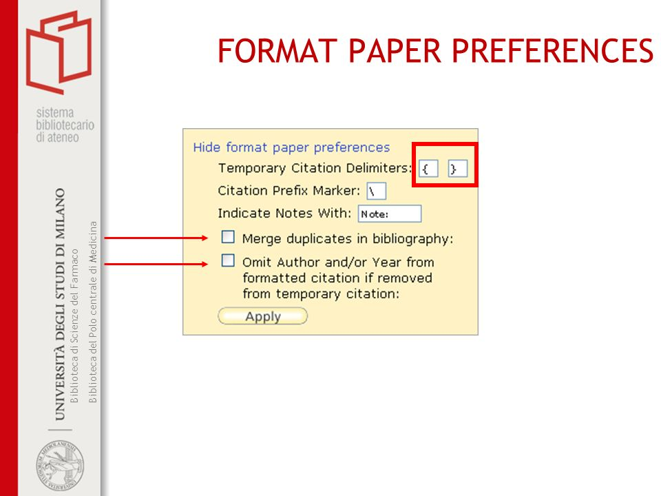 FORMAT PAPER PREFERENCES