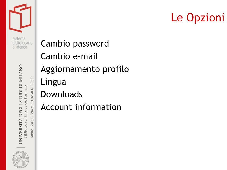 Le Opzioni Cambio password Cambio e-mail Aggiornamento profilo Lingua