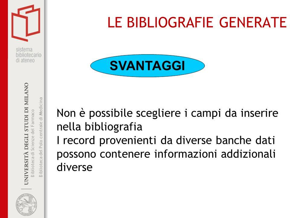 LE BIBLIOGRAFIE GENERATE