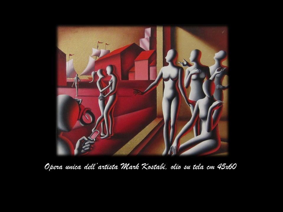 Opera unica dell'artista Mark Kostabi, olio su tela cm 45x60