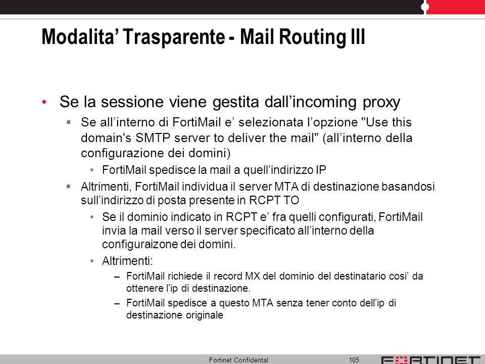 Modalita' Trasparente - Mail Routing III